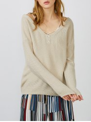 V Neck Drop Shoulder Pullover Sweater - APRICOT