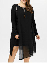 Long Sleeve Chiffon Trim Plus Size Casual Dress