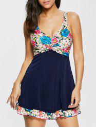 Floral Knot Skirted One Piece Swimsuit - COLORMIX