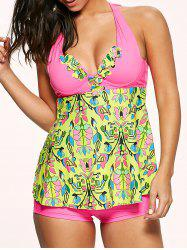 Halter Bowtie Padded Backless Underwire Tankini Swimsuit - COLORMIX