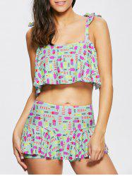 Ice Cream Print Tankini with Ruffles