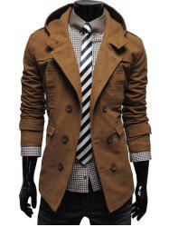 Double Breasted Hooded Pea Coat - CAMEL