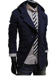 Double Breasted Hooded Pea Coat - CADETBLUE
