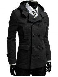 Double Breasted Hooded Pea Coat - BLACK