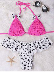 Star Printed Flounced Halter Cute Two Piece Swimsuit