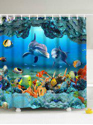 3D Underwater World Fish Shower Curtain with Hooks - BLUE