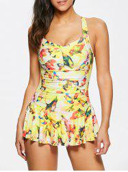 Criss Cross Ruched Printed Skirted Tankini Bathing Suit - YELLOW