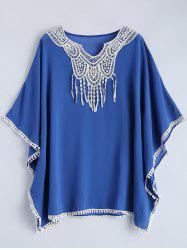 Lace Panel Fringed Cover Up