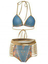 Graphic Cut Out Backless Bikini Set - COLORMIX M