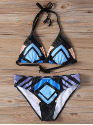Color Block Halter Bikini Bathing Suit