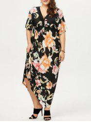 Plus Size Dolman Sleeve Floral Print Bohemian Dress