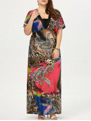 Plus Size Leopard Printed Maxi Dress
