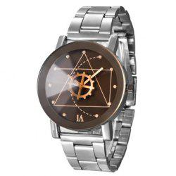 Gear Geometric Steel Band Quartz Watch - SILVER AND BLACK