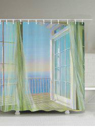 Bath Decor Balcony Seascape Shower Curtain - WHITE