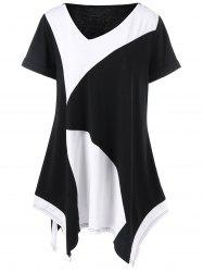 Plus Size Long Cuffed Sleeve Asymmetrical T-Shirt - WHITE AND BLACK