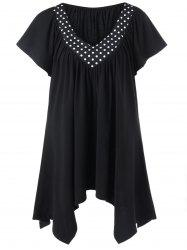 Polka Dot Trim Plus Size Longline T-Shirt