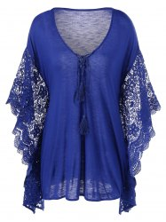 Plus Size manches papillon bordures en crochet Blouse - Bleu