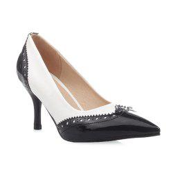 Patent Leather Engraving Pumps - WHITE