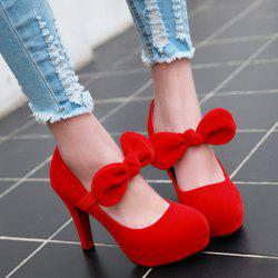 Velvet Platform Bow Pumps