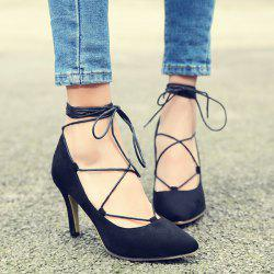 Lace Up Pointed Toe Pumps