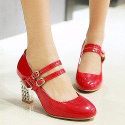 Double Buckle Strap Chunky Heel Pumps