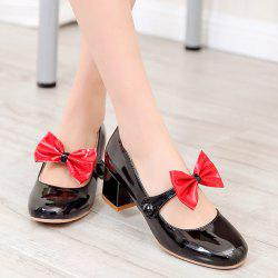 Block Heel Patent Leather Pumps