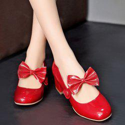 Block Heel Patent Leather Pumps - RED