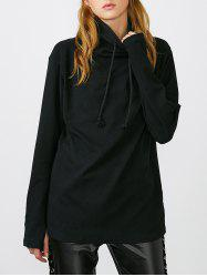 High Neck Thumb Hole Drawstring Sweatshirt