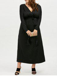 Plus Size Deep V Neck Maxi Evening Dress with Long Sleeve - BLACK 4XL