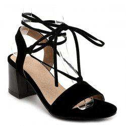 Mid Heel Lace Up Sandals