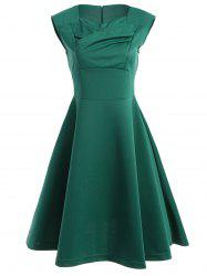 Ruched Retro Sweetheart Neck Flare Dress