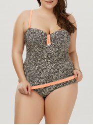 Floral Plus Size One Piece Maillots de bain - Orange