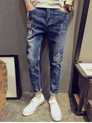 Patches Rolled Up Distressed Jeans