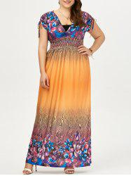 Plus Size  Ombre Printed Maxi Boho Dress