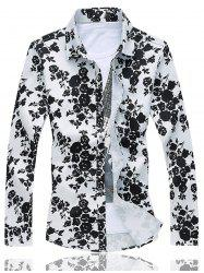 Turn Down Collar Rose Print Shirt