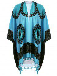 Plus Size Fringed Graphic Cover Up