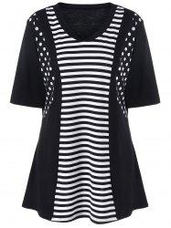 Plus Size Striped and Polka Dot T-Shirt