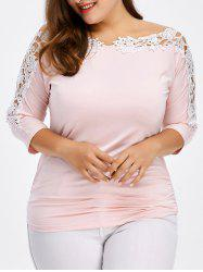 Plus Size Crochet Trim Ruched T-Shirt