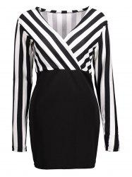 Stripe Mini Long Sleeve Surplice Dress