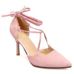 Stiletto Heel Tie Up Pointed Toe Pumps