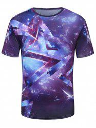 Crew Neck 3D Galaxy Geometric Print T-Shirt