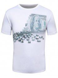3D Money Wall Print Crew Neck T-Shirt -