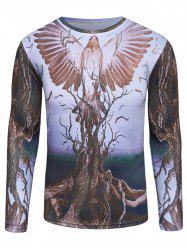 Crew Neck 3D Bird and Tree Print T-Shirt