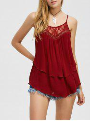 Lace Trim Layered Tank Top - WINE RED