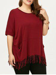 Plus Size Tassel Tunic Top With Pockets