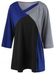 Color Block Cut Out Plus Size T-Shirt
