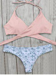 Halter Wrap Bikini Top and Baroque Print Bottoms - PINK