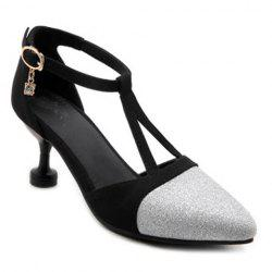 Pointed Toe Glitter T Strap Pumps
