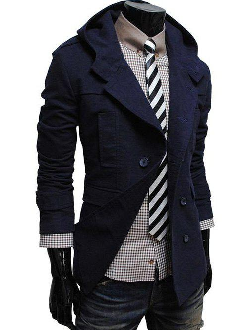 Discount Double Breasted Hooded Pea Coat