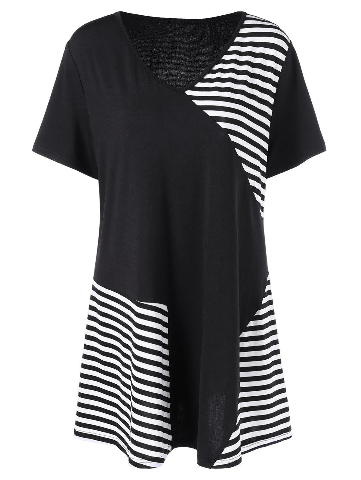 Outfits Plus Size V Neck Striped T Shirt